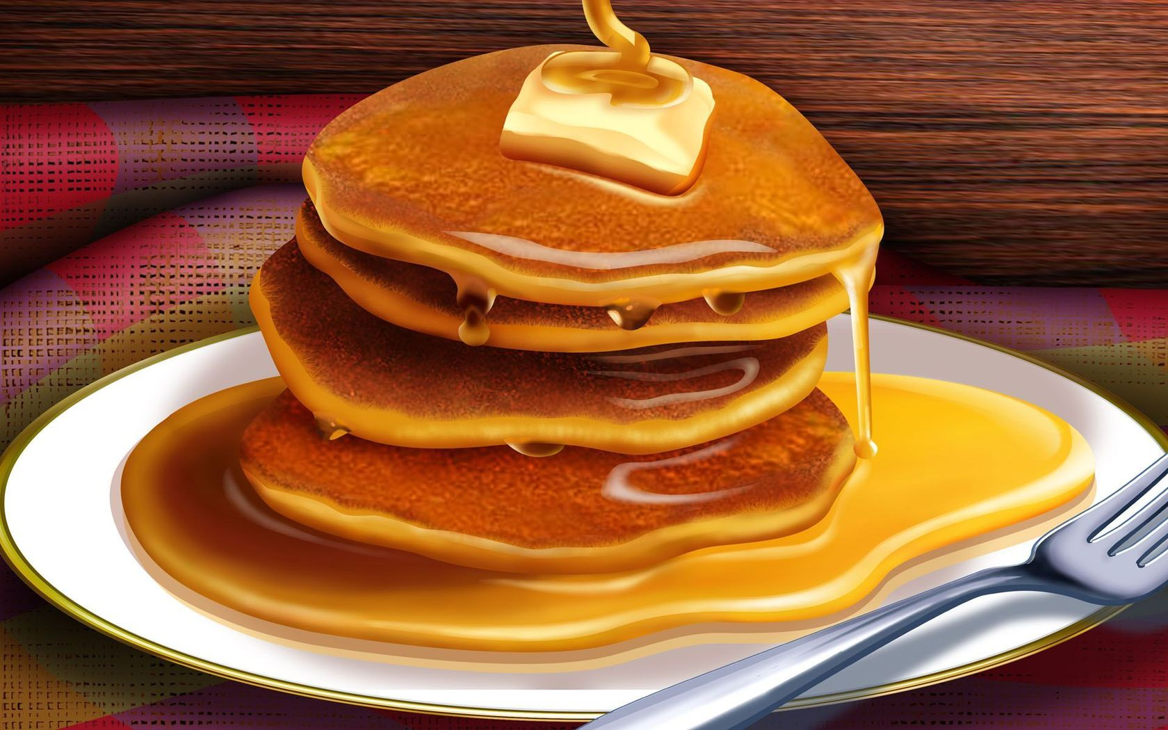 Pancakes with syrup clipart wallpaper image 40084 1680x1050