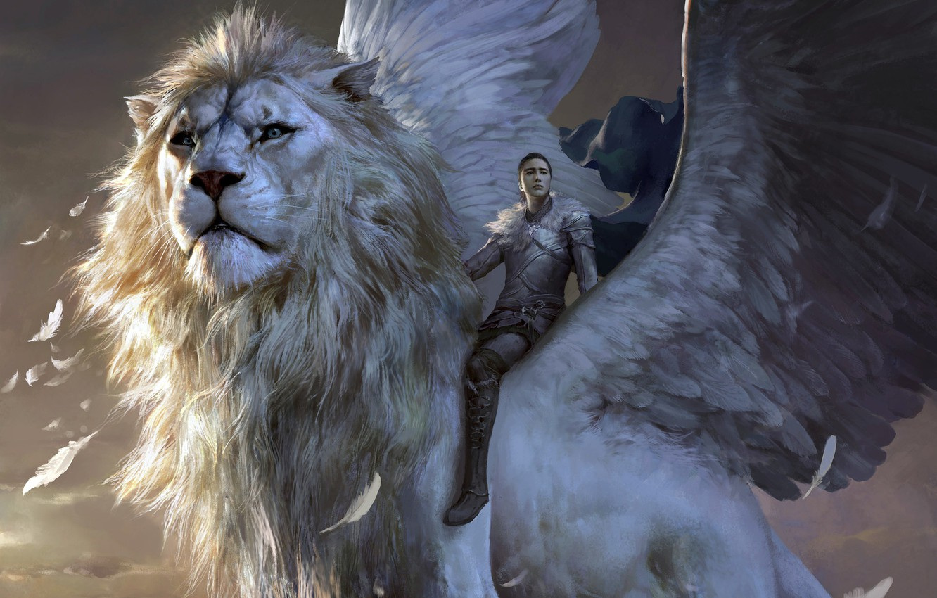 Wallpaper girl fantasy armor wings lion feathers artwork 1332x850