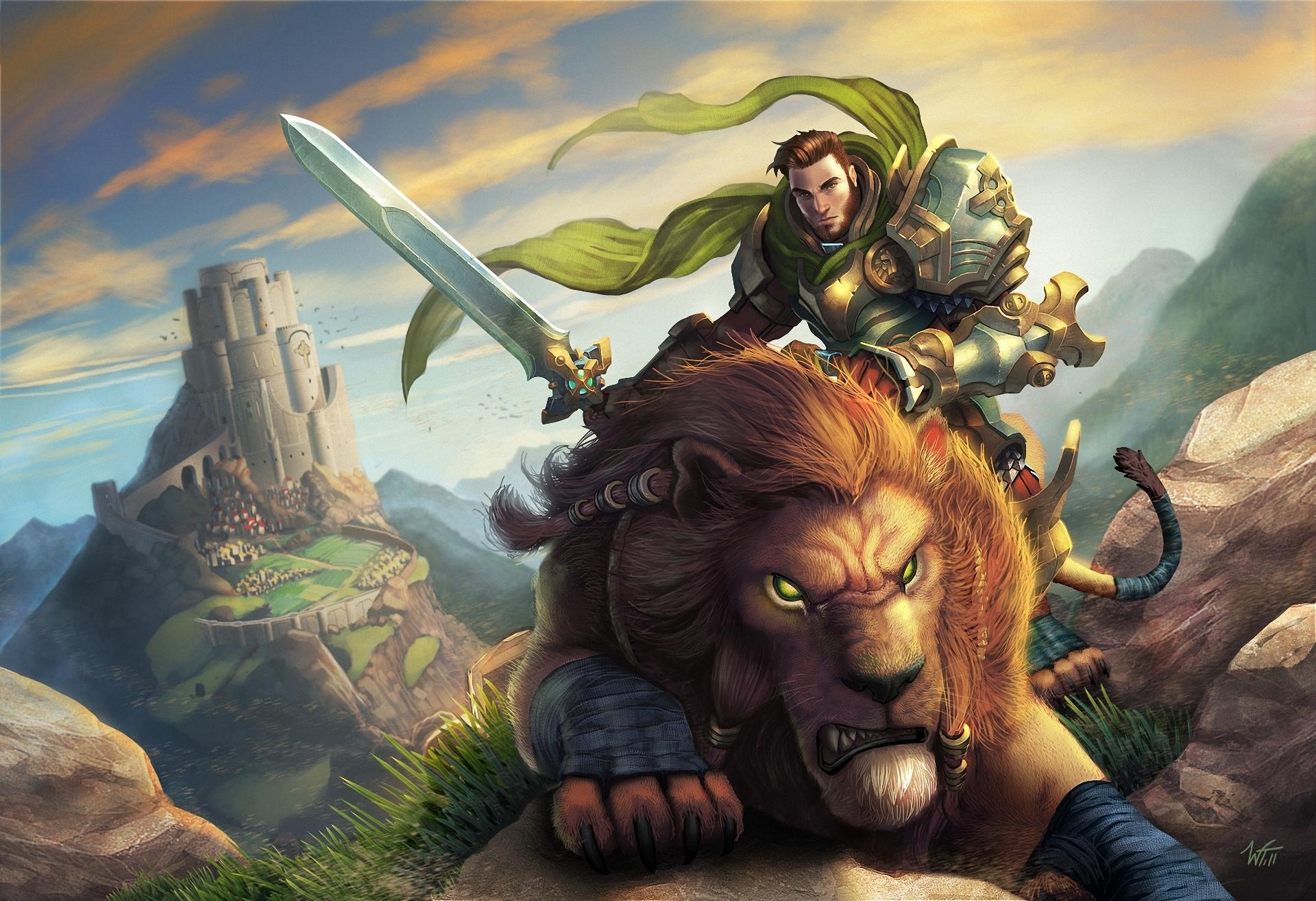 World of WarCraft WoWcats Lions Warrior Men Armor Sword castle fantasy 1920x1314