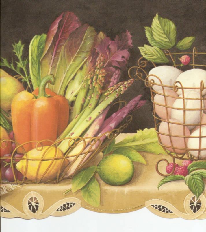 FRUIT VEGETABLES IVY ON SHELF BLK COUNTRY KITCHEN Wallpaper bordeR 713x800