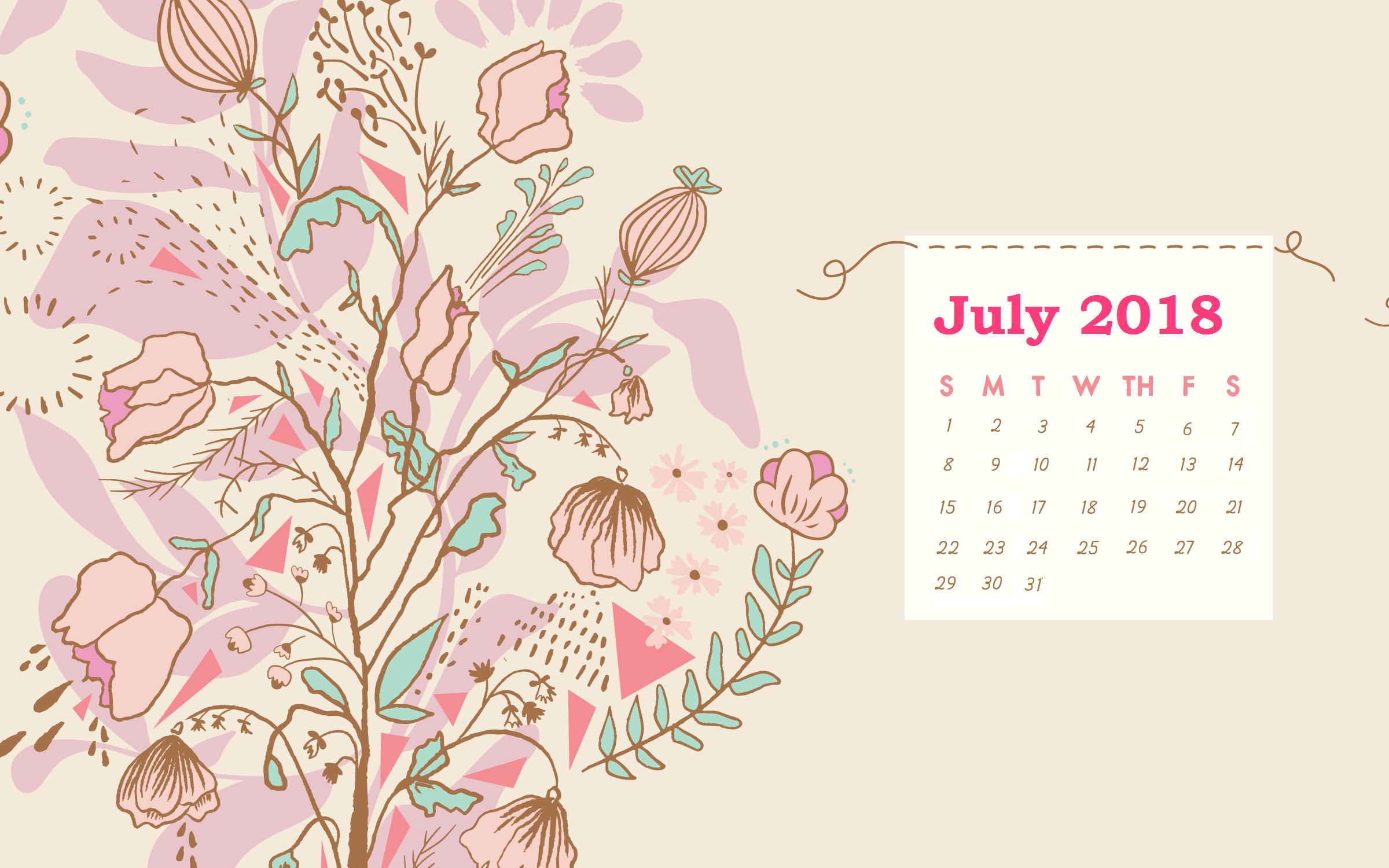 July 2018 Desktop Background Calendar MaxCalendars Desktop 2400x1500