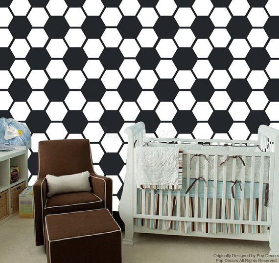 Baby Boy Nursery Wallpaper - Soccer Ball Pattern Wall Mural - Children ...