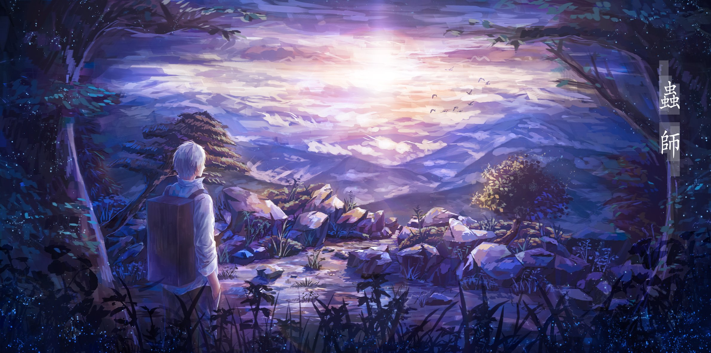 all male animal bird clouds ginko landscape male mushishi scenic short 2380x1181