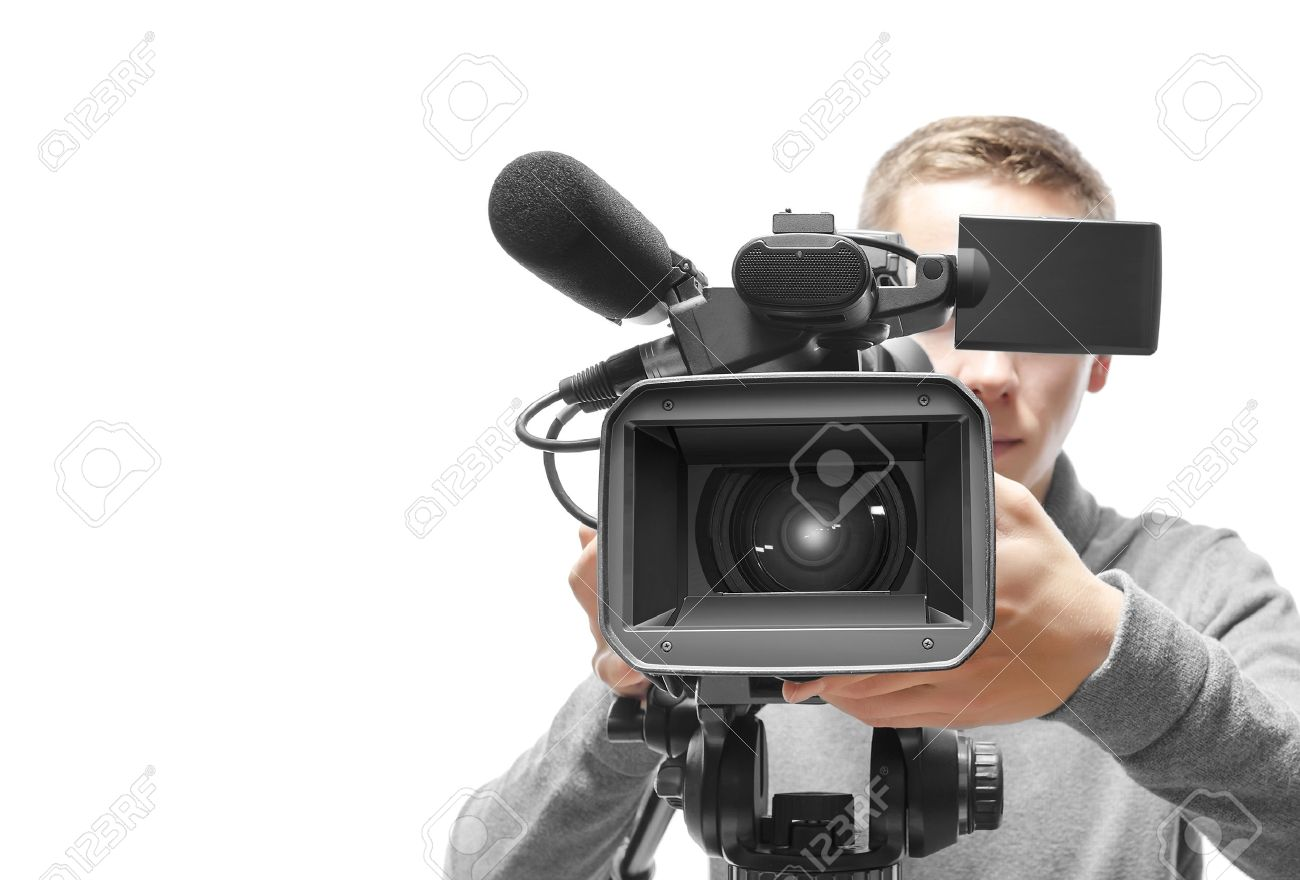 Video Camera Operator Isolated On White Background Stock Photo 1300x880