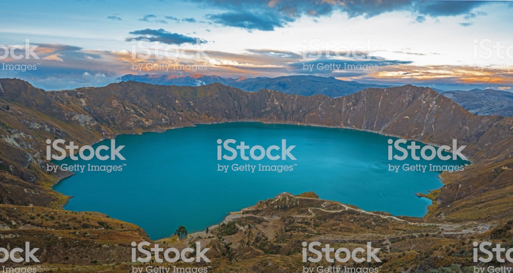 Quilotoa Crater Lake At Sunset Stock Photo   Download Image Now 1024x546