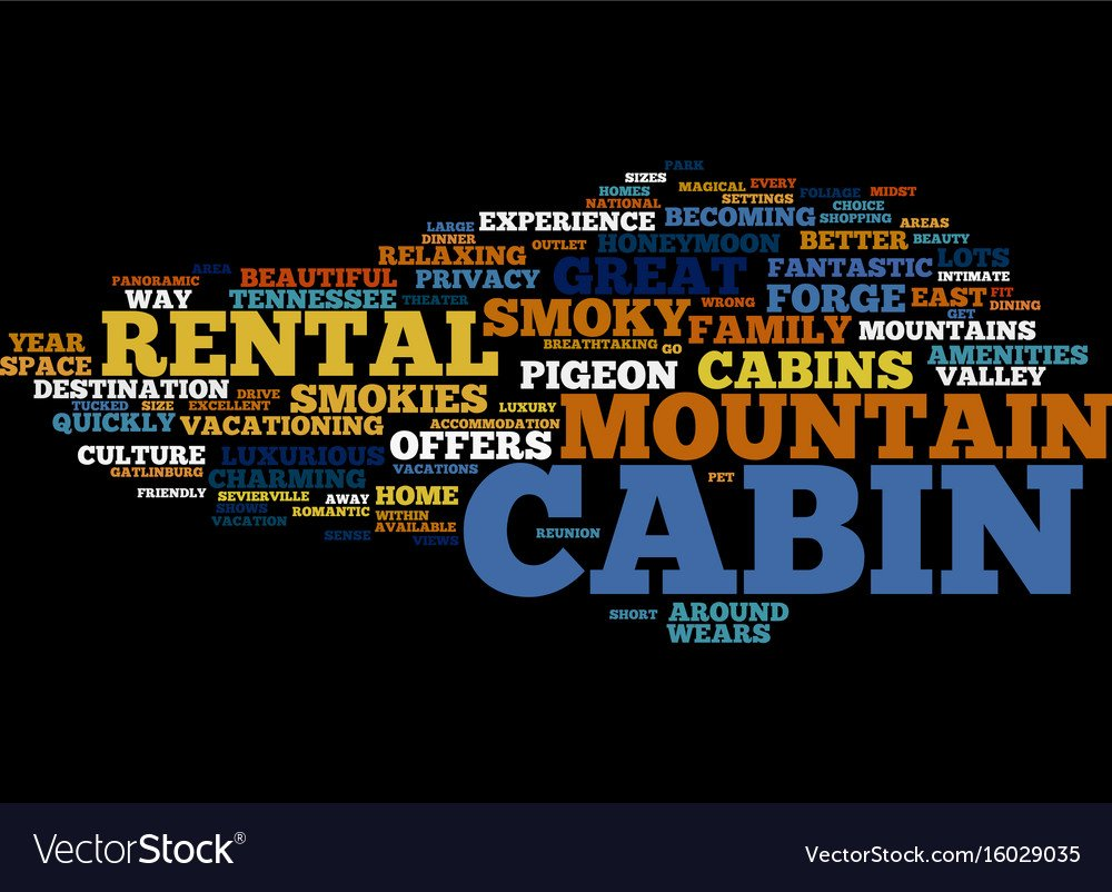 Great cabin in the smokies text background word Vector Image 1000x802