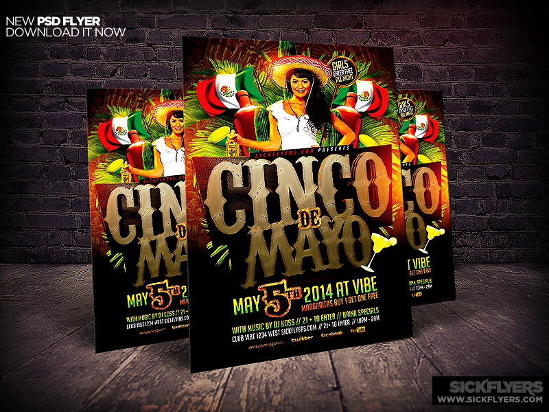 Cinco de Mayo Party Flyer Template by Industrykidz on 800x600
