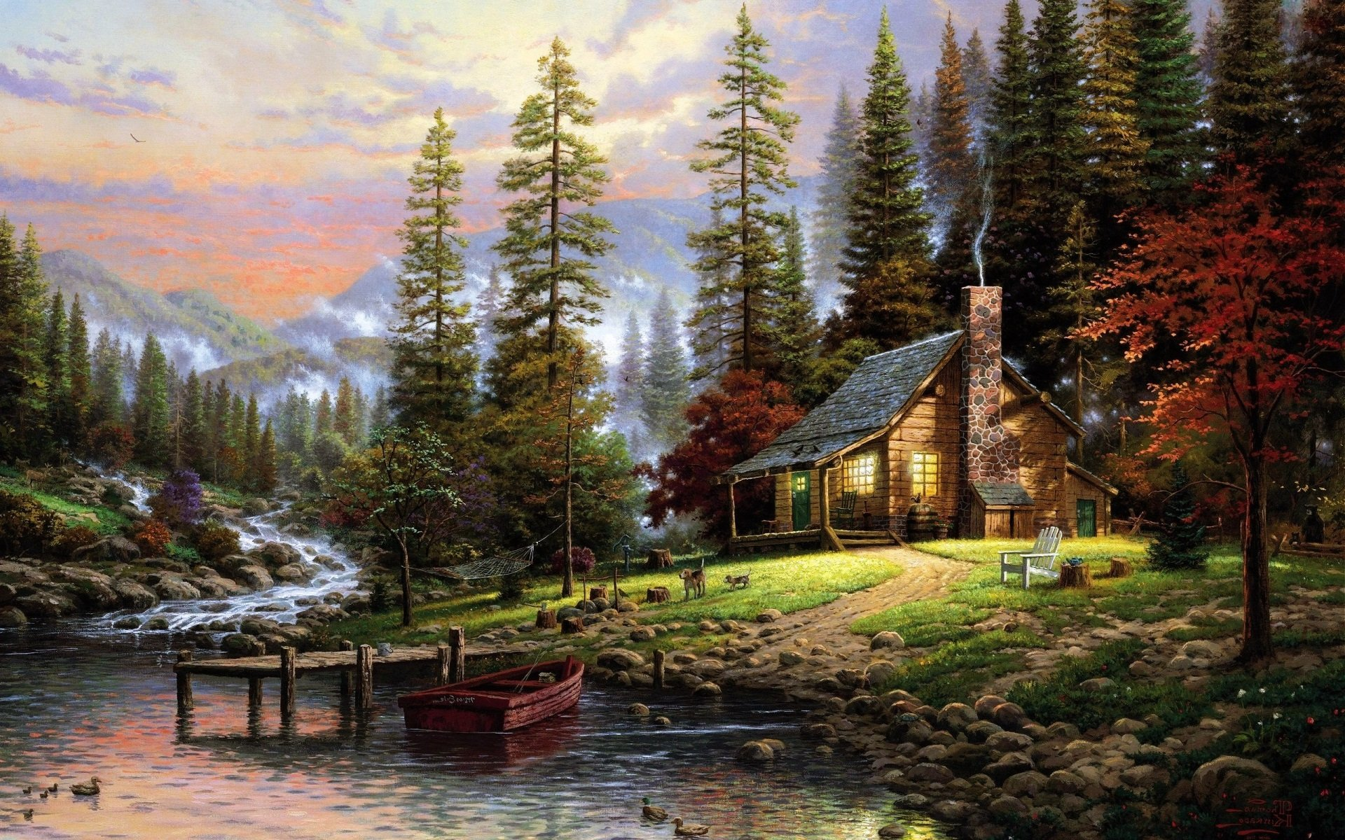 Log cabin in the woods painting - September 3 2015 By Stephen Comments Off On Mountain Cabin Wallpapers