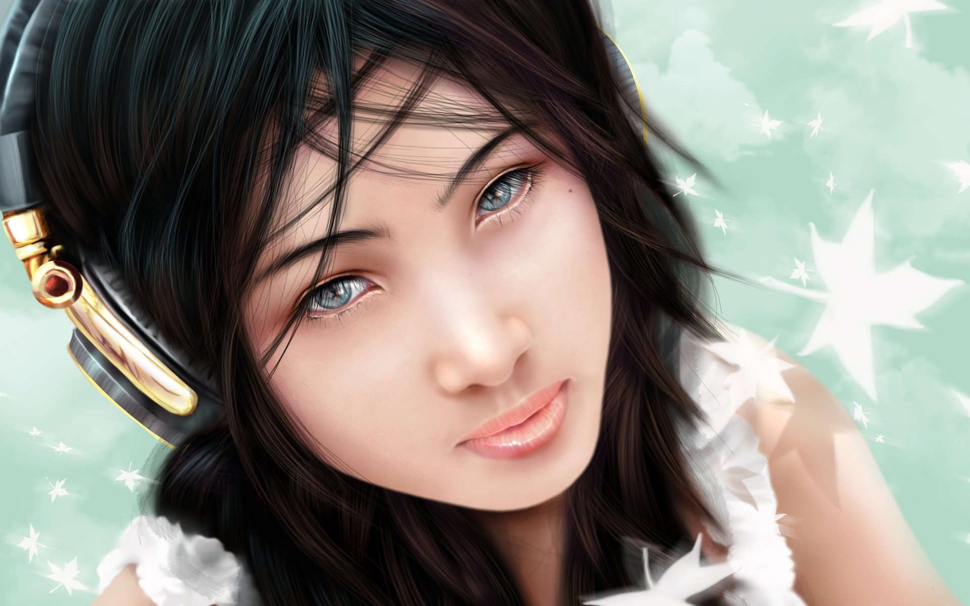 Girl in ear phones wallpapers and images   wallpapers pictures 1920x1200