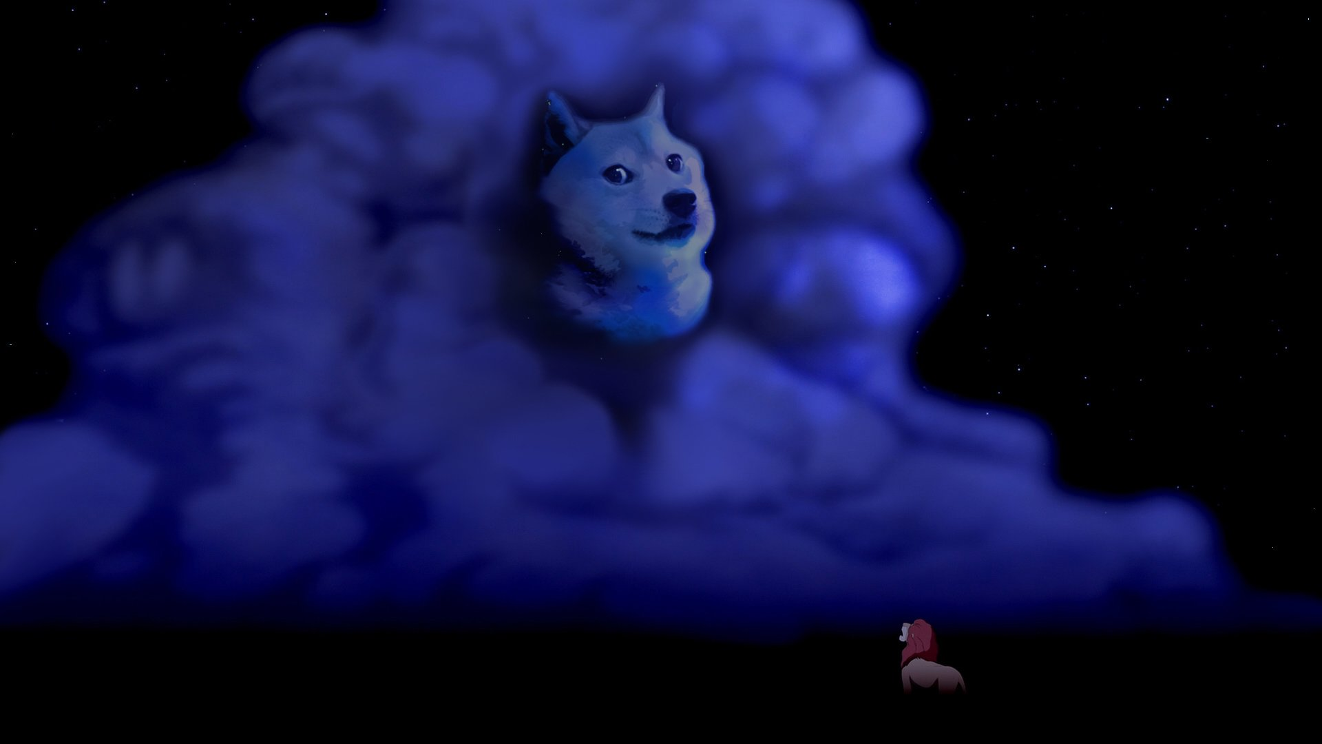 Night Doge Meme Dog disney wolf wolves fantasy wallpaper background 1920x1080