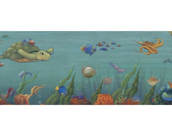 Undersea Pre Pasted Wallpaper Border   RosenberryRoomscom 580x460
