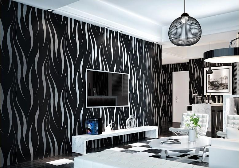 black and silver wallpaper living room