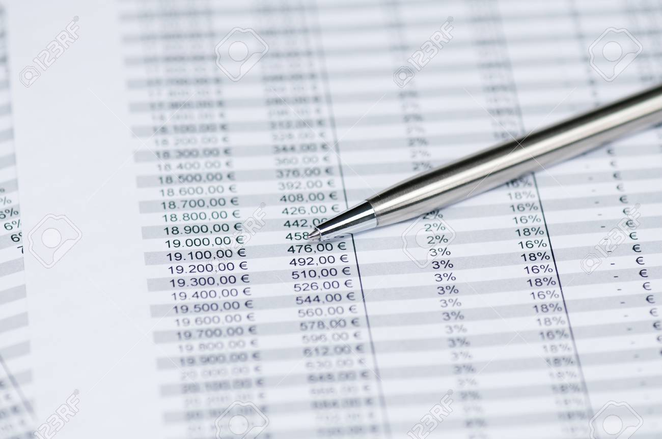Business Concept   Pen On The Background Of Spreadsheet Toned 1300x863