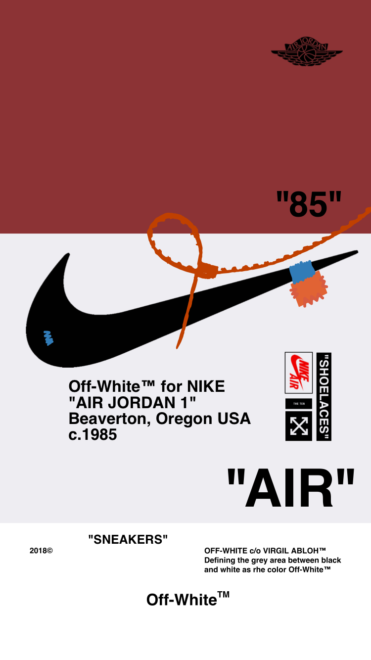 Off WhiteWALLPAPER IPHONE 1857 AIR JORDAN 1 OFFWHITE 750x1334