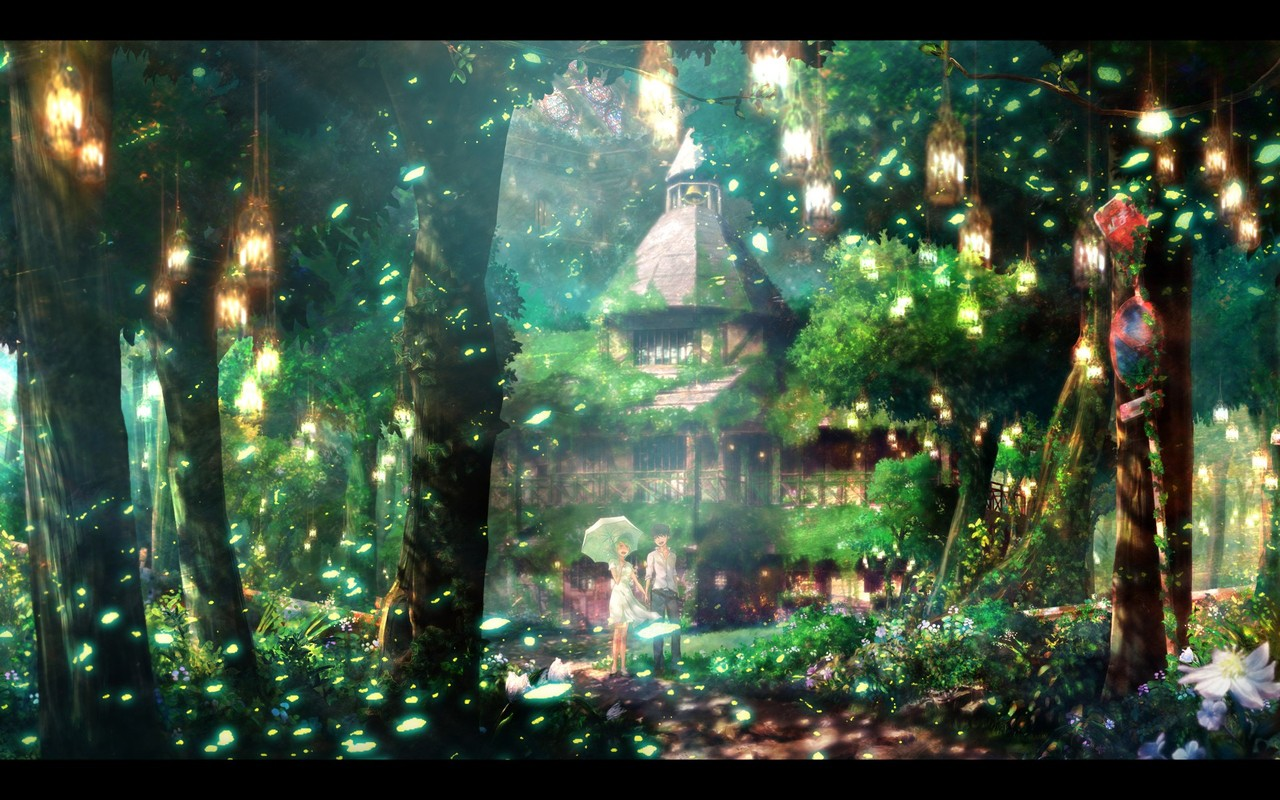 anime wallpaper anime forest couple wallpaper 1280x800