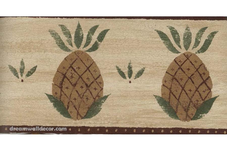 Burgundy Fruit Pineapple Wallpaper Border 900x600