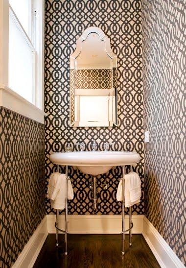 Elegant Nest Powder Room Wallpaper 380x547