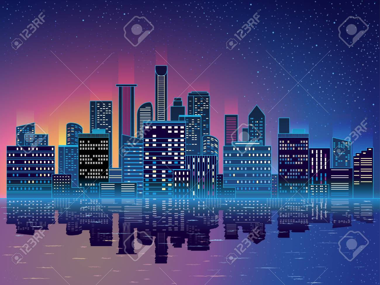 Night City With Skyscrapers Background Blue Background With 1300x975