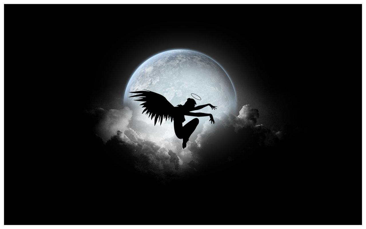 Black Angel Night Wallpaper 1280x800