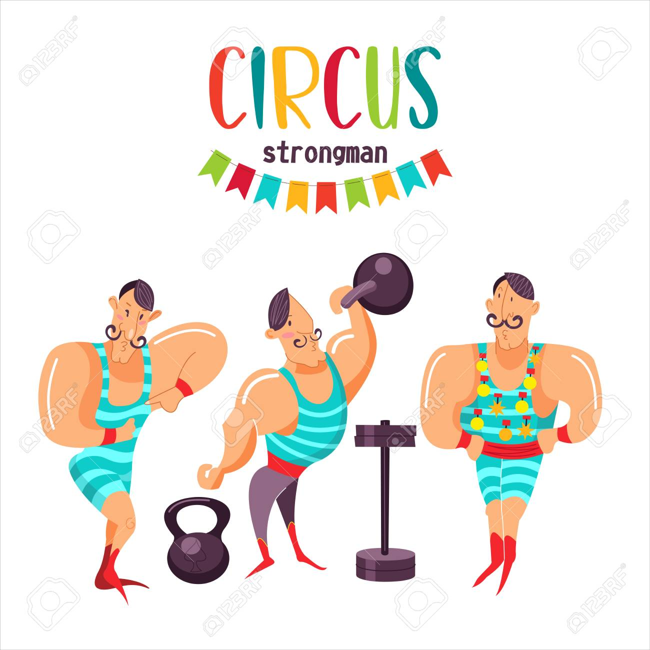 Circus Artists The Strongman Vector Illustration Isolated 1300x1300