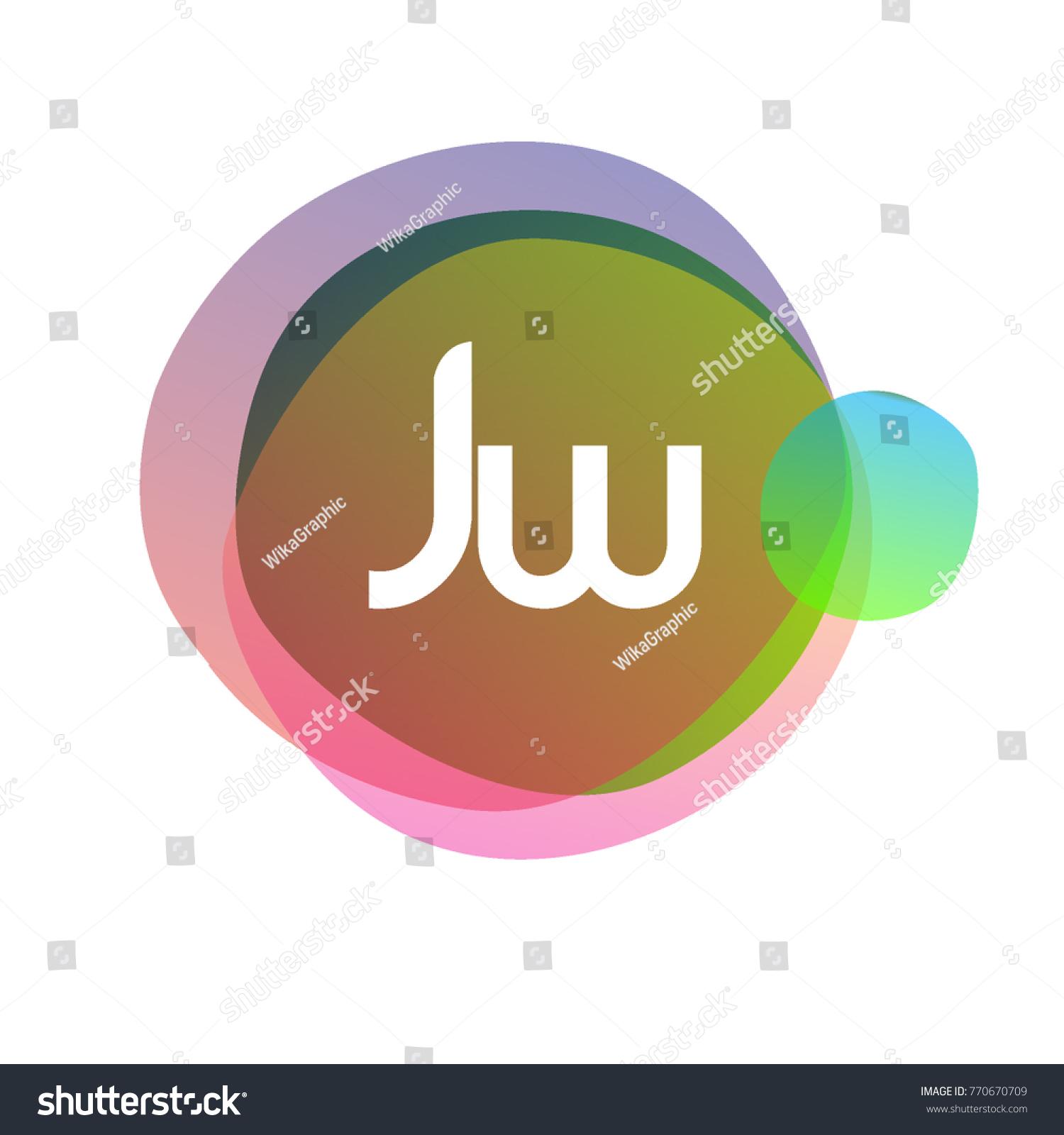 Letter JW Logo Colorful Splash Background Stock Vector Royalty 1500x1600