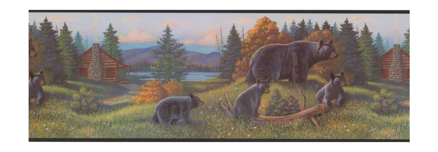 Black Bear Lodge Wallpaper Border WL5627B Rustic Log Cabin Cub 1500x520