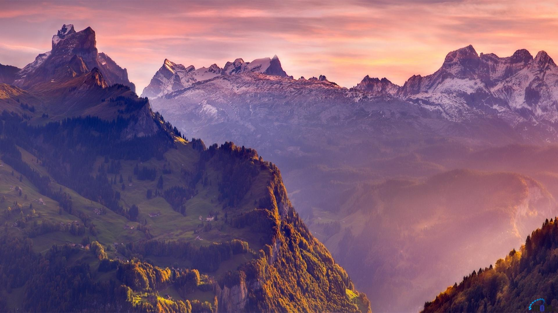 Download Wallpaper Swiss Alps at sunset 1920 x 1080 HDTV 1920x1080