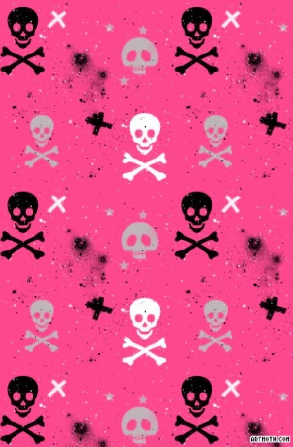 Pink with skulls Background pictures for iPhone Pinterest 604x919