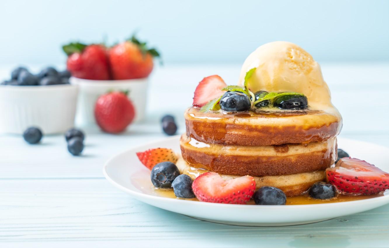 Wallpaper berries blueberries strawberry honey honey pancakes 1332x850