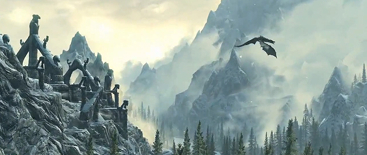Elder scrolls v skyrim dragon flying wallpaper 77 728x309
