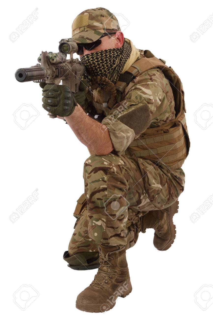 Special Forces Operator With Assault Rifle On White Background 866x1300