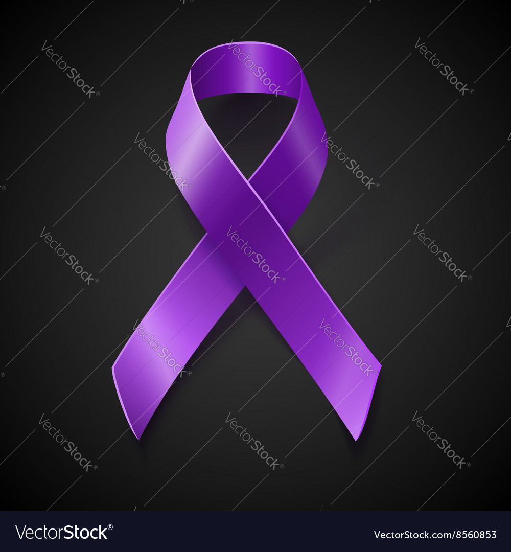 Purple awareness ribbon over black background Vector Image 1000x1080