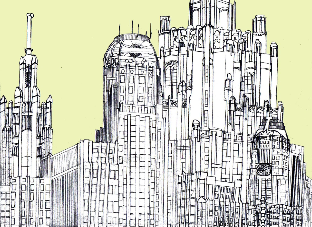 Art Deco City Drawing by marshalhopalop Concept 1280x934
