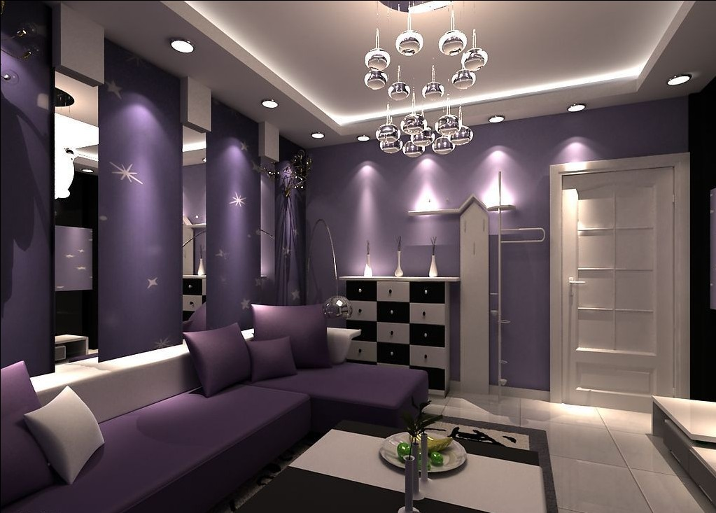 Purple walls and purple sofa for living room design rendering 1023x733