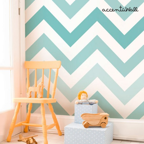 Chevron Teal Peel and Stick Fabric Wallpaper Repositionable 500x500