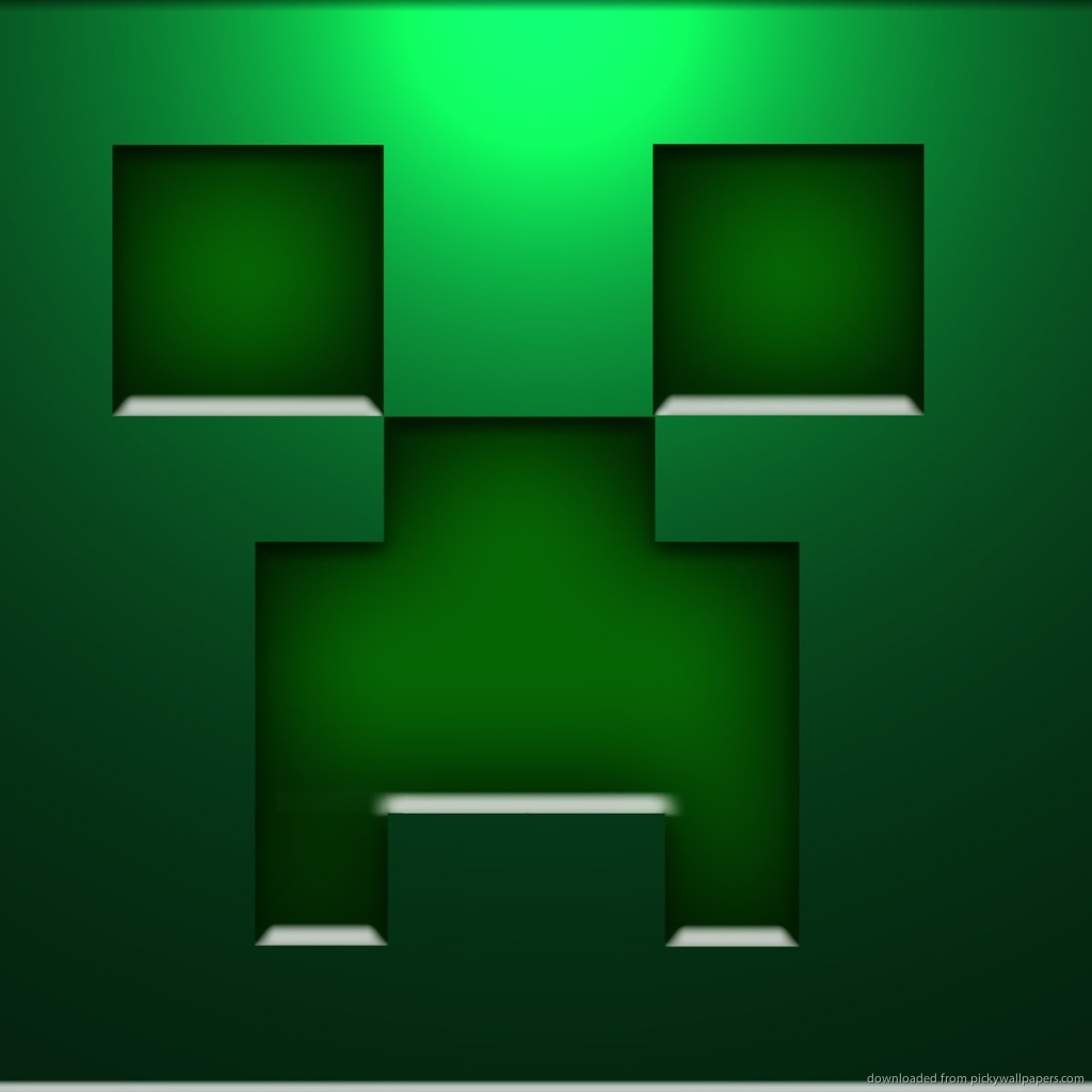 Download Minecraft Creeper Face Wallpaper For iPad 1024x1024