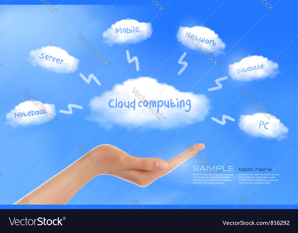 Cloud computing background with hand Royalty Vector 1000x780