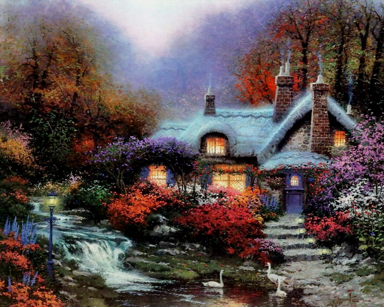Thomas Kinkade Fall Wallpaper Wallpapersafari