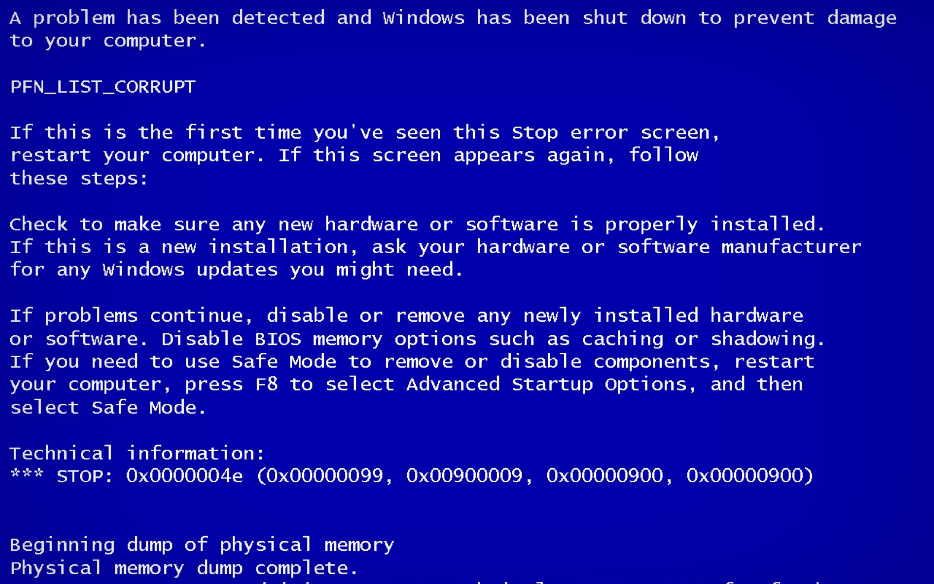 Blue Screen of Death Wallpaper for Widescreen Desktop PC 1920x1200