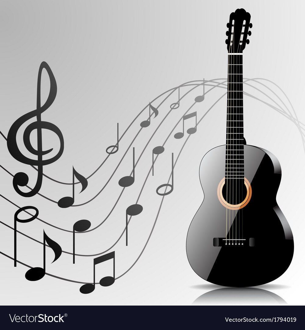 Abstract music background with guitar and notes Vector Image 1000x1080