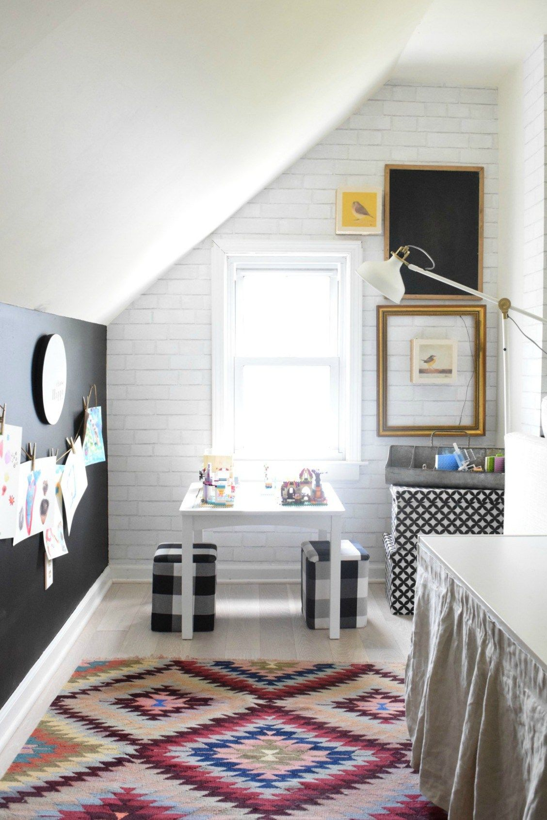 Family Room with Wallpaper and Chalkboard Wall Home Decor Ideas 1128x1690