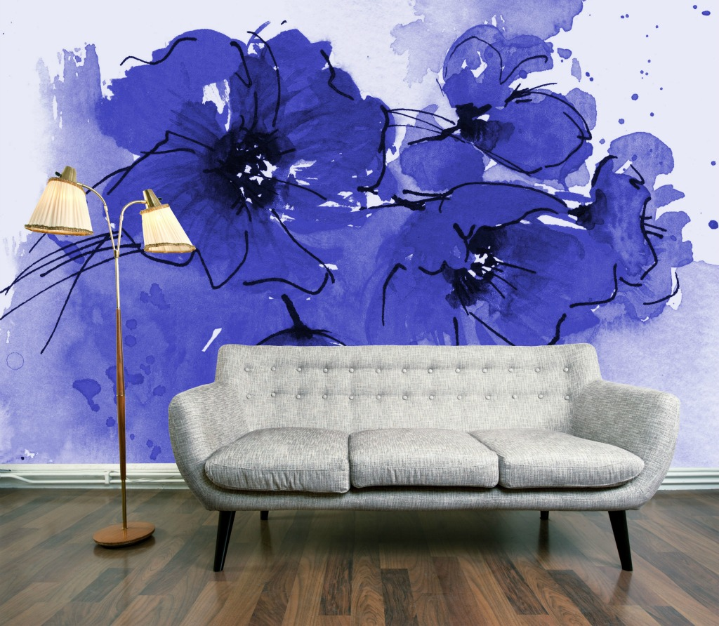 Wallpaper Wednesday Indigo Poppy Mural by DigetexHome   Love Chic 1024x892