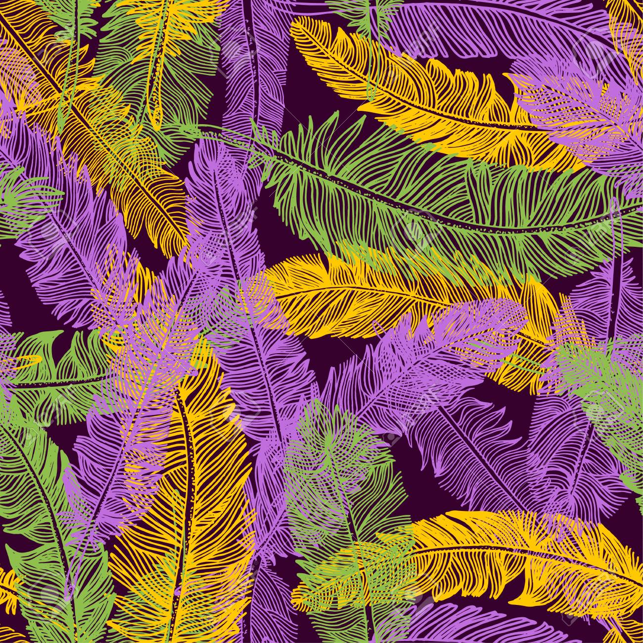 Hand Drawn Seamless Pattern Of Feathers Mardi Gras Colors 1300x1300