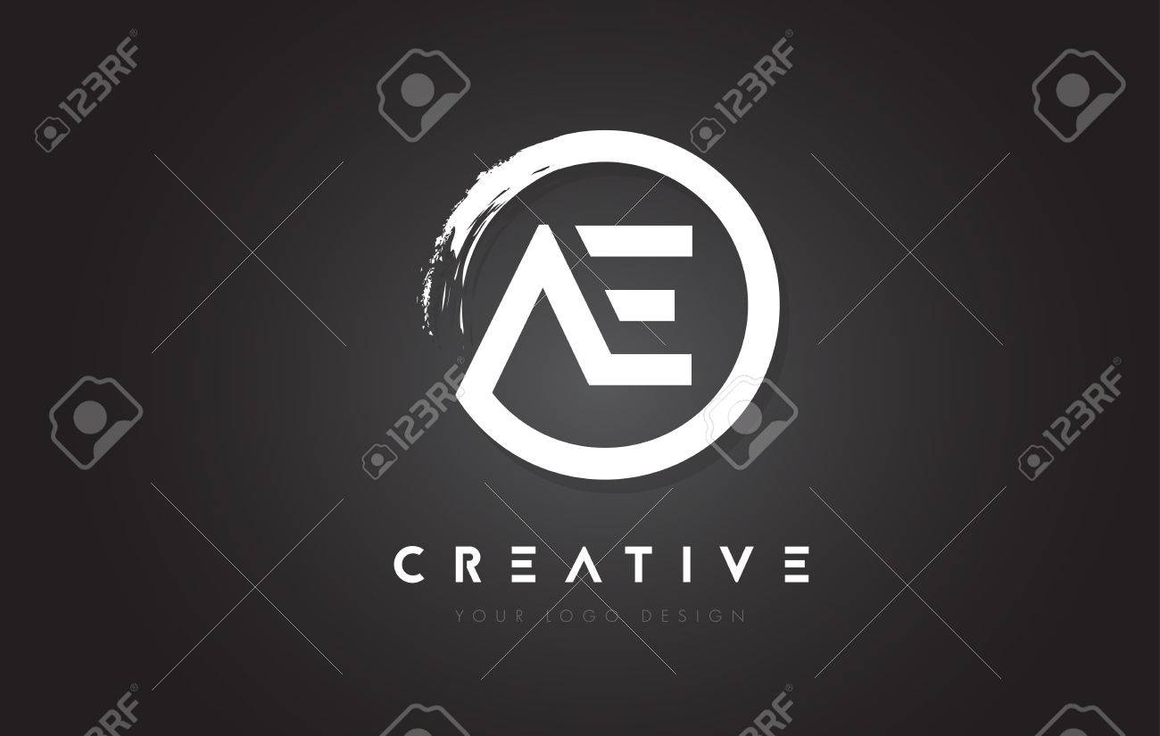 AE Circular Letter Logo With Circle Brush Design And Black 1300x825