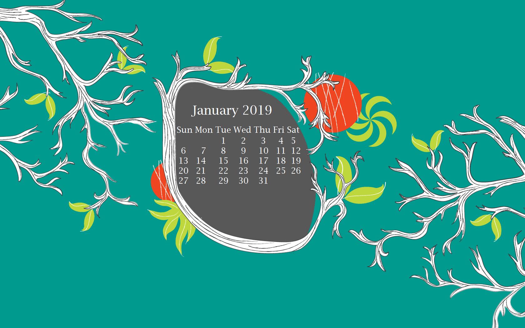 January 2019 Desktop Calendar Wallpaper Calendar 2018 1680x1050