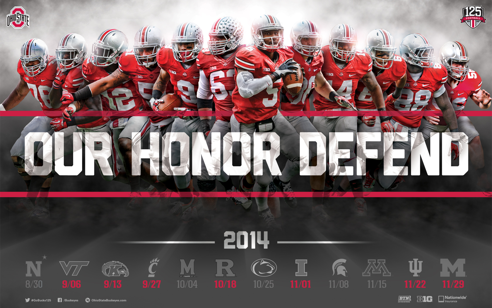 Download The Ohio State Football 2014 Schedule Poster for Printing and 1680x1050