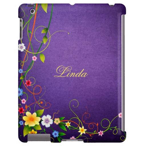 Girly iPad Retro Flowers Swirls Purple Background 512x512