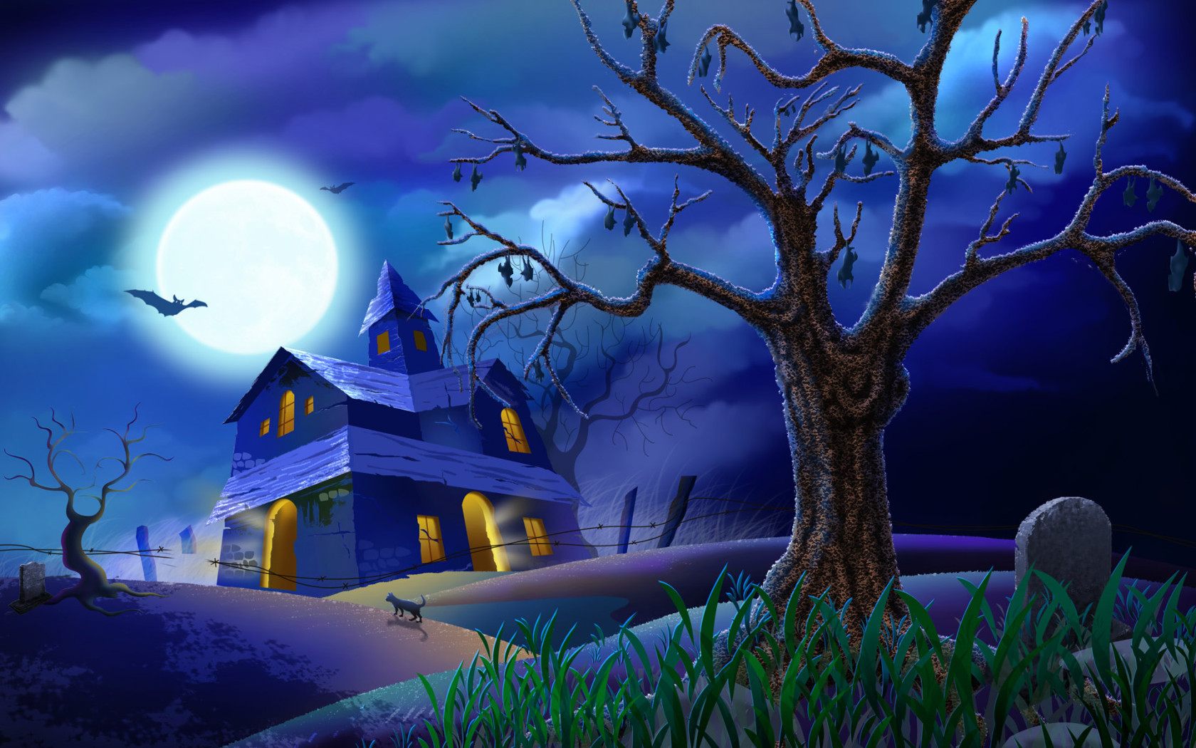 House at the cemetery Halloween Desktop wallpapers 1680x1050 1680x1050