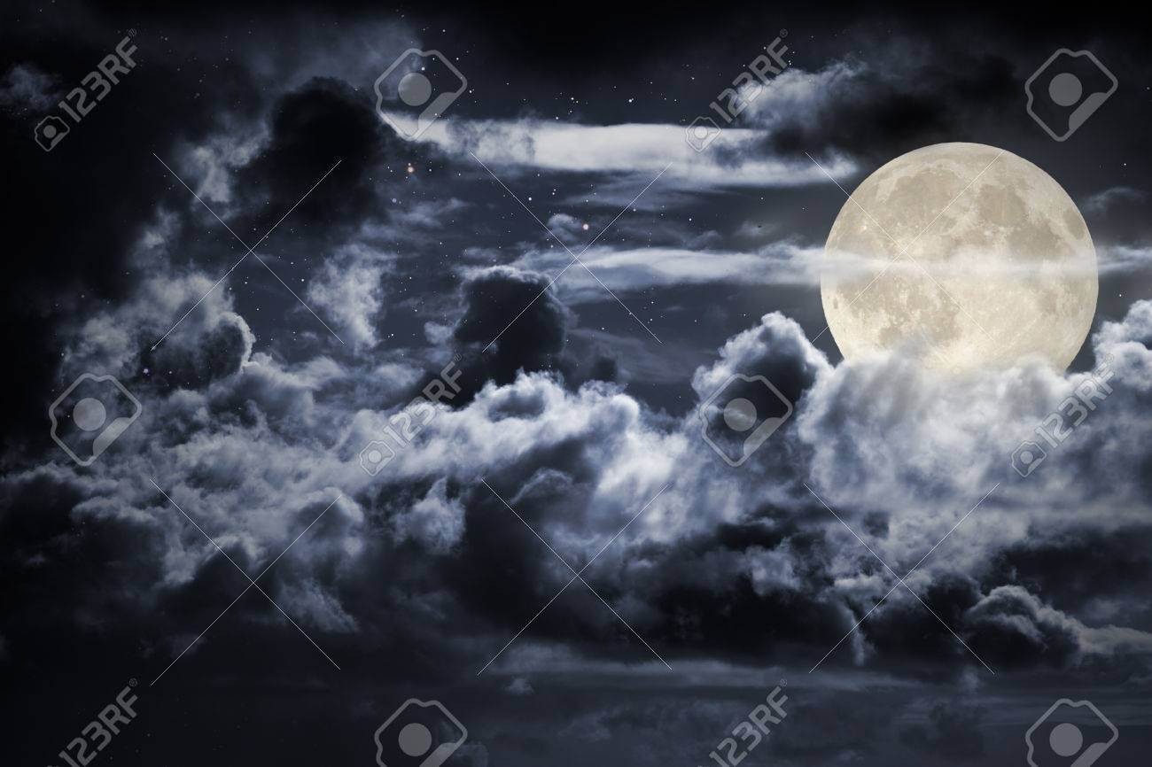 Bright Full Moon Night Sky Background With Strong Clouds And 1300x866