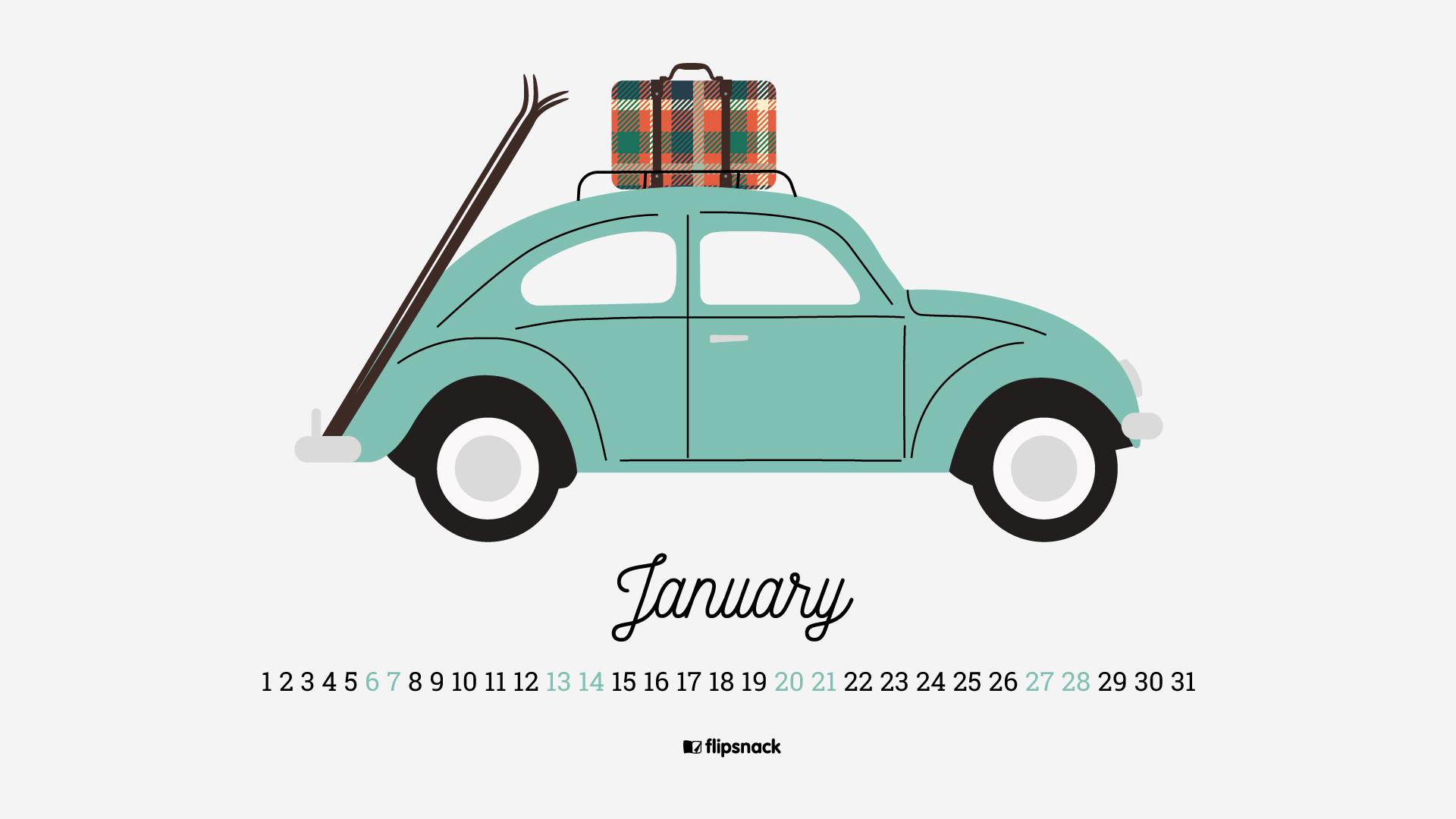 January 2018 calendar wallpaper for desktop background 1920x1080